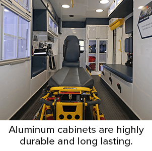 Aluminum cabinets are highly durable and long lasting.
