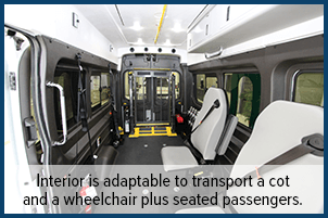 Interior is adaptable to transport a cot and a wheelchair plus seated passengers.