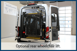 Optional rear wheelchair lift.