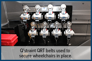 Q'straint QRT belts used to secure wheelchairs in place.
