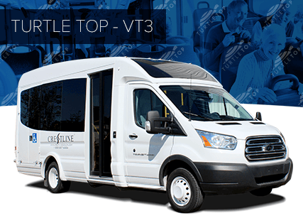 the vt3, represents the state-of-the-art future for the shuttle bus  industry  the turtle top vt3 is constructed on ford's new transit cutaway  with gas or