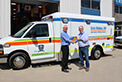 Congratulations to Essex-Windsor EMS on the delivery of their new (5) FleetMax ambulances. Mike is shown handing the keys off the Chief B. Krauter.