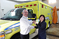 Congratulations to Ambulance St. Pamphile on the recent delivery of their new QC Summit 160 ambulance! General Manager, Mrs. Rosanne Bourgault seen here picking up the keys from Crestline's, Mike Harbec.