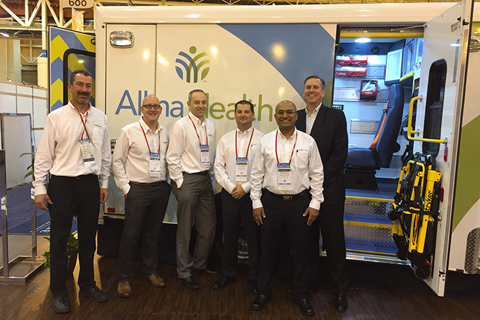 Crestline team at EMS World Expo where the new ICON 2.0 ambulance won the Innovation Award. Left to right:  Chuck Burgess - US Sales Consultant, Jim Tkach - Vehicle Platform & Applications Specialist, Scott Frey - Regional Sales Leader Western Canada, Central/Western USA, Scott Sawatsky - VP, Sales & Marketing, Jayesh Mehta - Senior Vehicle Platform Engineer, Steve Hoffrogge - President & CEO