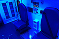 Ambulance interior lighting are clear or blue for ambient options during transport of newborns.