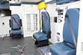 Paramedic seating designed to accommodate two patients and four medical staff.
